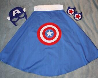 Captain America Cape, Mask and Wrist Cuffs