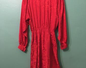 Angeline Dress--Red floral silky dress