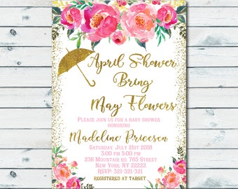 April Showers Bring May Flowers Baby Shower Invitation, Floral Baby Shower Invite, Spring Party, Rose and Gold Girl Baby Shower Invite 1105