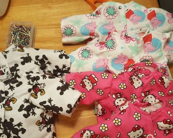 Baby doll pjs, baby doll pajamas, flannel pjs; flannel pajamas; dolly pajamas, doll pajamas, pj's