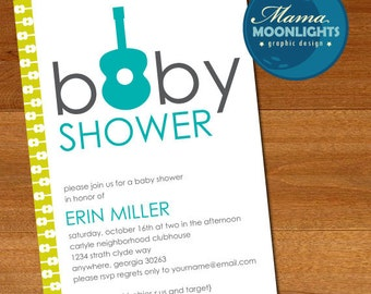 Baby Shower Guitar Invitation Printable Inspired By Michael Miller Groovy Guitars (Turquoise / Lime Green / Gray or Pinks / Gray)