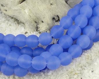 25 8mm Matte Sapphire Blue Beads - Seaglass Style Czech Glass Beads - Soft Blue Beachglass Beads