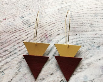 Yellow and red triangle earrings