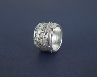 Mist- Sterling silver wide band ring - Unisex ring - Gift for her - Gift for him - Nature Inspired - Wide band - Made to order in your size.