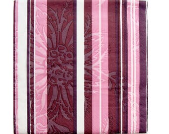 Set of 3 pink HOD099 striped paper napkins / purple / brown / white and flower filigree