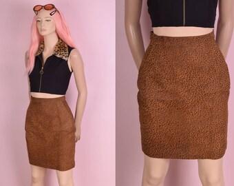 80s Leopard Print Suede High Waisted Skirt/ 25 Waist/ 1980s