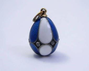 Antique Faberge enamel egg pendant.
