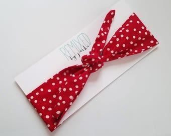 Vintage Inspirted Red Polka Dot Head Scarf - Headband