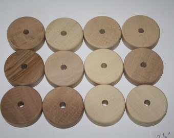 """12 Wooden Wheels Tires 2 1/2"""" x 3/4"""" Wide, 5 mm Axle Hole"""