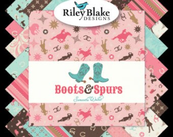 "Boots and Spurs - Pink colorway - Layer Cake (42) 10"" squares - Stacker - Riley Blake - by Samantha Walker"