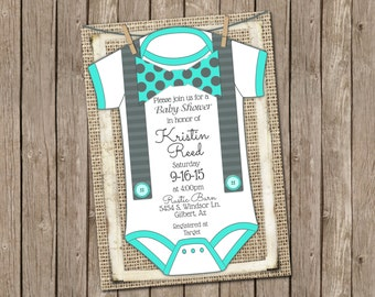 Boy Baby Shower Invitation in Turquoise and Grey with Burlap, Onesie, Suspenders and Polka Dot Bow Tie -5x7- T19
