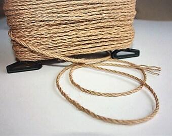 3 mm Jute Cord Natural = 1 Spool = 27 Yards = 25 Meters TWISTED CORD Burlap Stocking Rustic Weddings Macrame Rope Burlap String Cording Rope