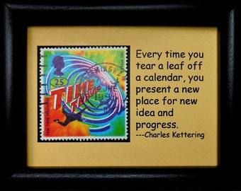 The Time Machine Time Travel HG Wells -Handmade Framed Postage Stamp Art 0614W