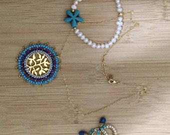 Mandala, tree of life, Aquamarine. Pearl necklace with  starfish and matching earrings