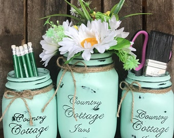 3 Piece Rustic Distressed Handpainted Mason Jar Workstation Set