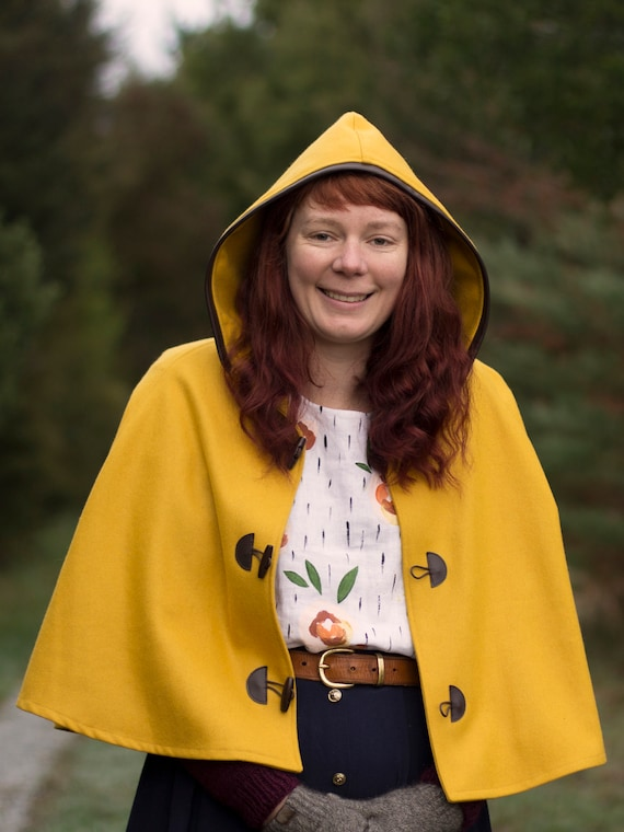 Mustard, Yellow Cape, Cloak, Poncho, Coat with Leather Trim Hood and Wooden Toggles.