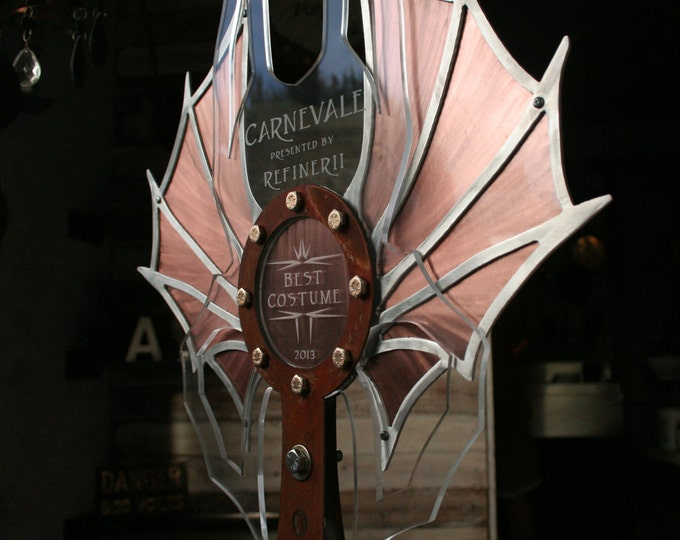 Steampunk Wings Trophy; Steel & Copper Custom Award