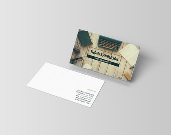 Modern Business Cards Template / Freelance Writers Business Cards / Author Calling Cards [Digital PSD Photoshop File   INSTANT DOWNLOAD]