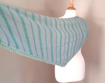 Hand Knit Shawl, Alpaca Wool, Green Blue Lavender, Triangle Shawl Wrap, Luxury Natural Fiber, Cuddly Shawl, Prayer Shawl