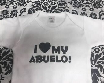 I love my Abuelo, spanish grandchild, baby bodysuit, , Baby Girls Clothing, Baby Boys Clothing, Spanish Grandfather, new shower gift idea
