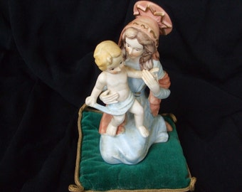 Vintage Ardalt Figurine on Velvet Pillow , Madonna and Child Bisque  Figure