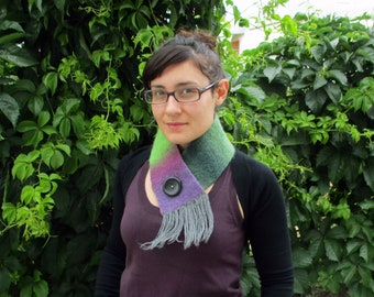"Colorful Ombre Felt Cowl Scarf with button multicolor wool ""Wild Berries"""
