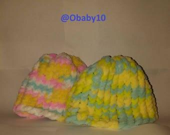2 baby hats, handmade, multi colors, girl/boy