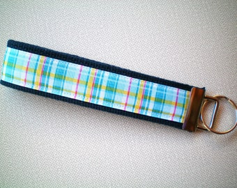 Wristlet Style Key Fob - Green and Blue Plaid