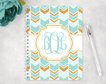 Personalized notebook in boho chic chevron arrow,  glossy spiral notebook, custom notebook, school notebook, back to school supplies