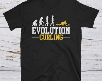 Evolution Curling -  funny curling shirt - curling lovers tee - curling apparel - curling shirt gift - curling player tee-curling team