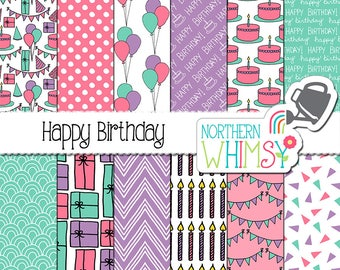 "Girls Digital Paper - ""Happy Birthday"" - birthday gifts, cakes, balloons & bunting seamless patterns - kids scrapbook paper - commercial use"