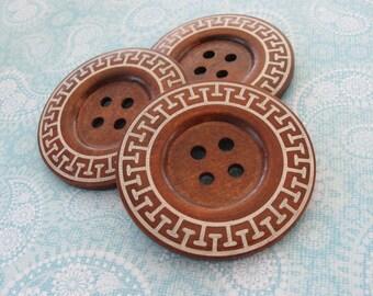 Bouton extra gros - 3 bouton en bois de 60mm - motif aztèque