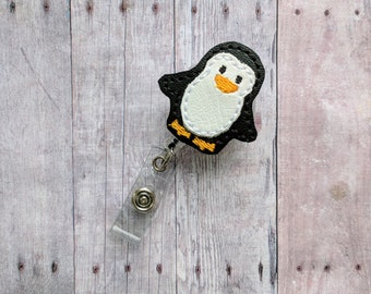 Penguin Badge Clip ID Holder, White and Black Embroidered Vinyl, Animal Badge Reel, Choice of Clip Styles, Penguin ID Holder, Made in USA