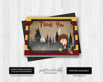 Harry Potter Thank You Card Kids Birthday Party Printable Digital File Sci-fi Note Cards