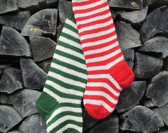 """Knit Christmas Stockings ~22"""" Personalized Hand knit from Wool yarn Striped stockings Red Dark green and White stripes"""