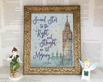 Second Star to the Right and Straight on 'til Morning Printable Sign. Peter Pan J.M. Barrie BabyNursey DIY Instant Download Typography Print
