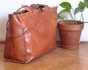 70s Leather Purse Vintage Tooled tote handbag Boho Casual Party leather Box style bag Shoulder bag