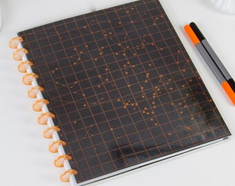 """Discbound black and copper Star Constellations bullet journal, Reversible Covers, Available in """"Covers Only"""" or """"Full Starter Kit"""" options."""