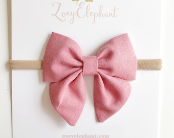 Rose Pink Sailor Bow, Baby Girl Clips, Baby Bow Headband, Pink Baby Headband, Fabric Hair Bow, Gift for Girls, Shabby Chic, Baby Accessories
