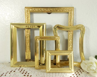 Large Vintage Gold Picture Frame Collection Set Instant Photo Gallery Mid Century Hollywood Regency Shabby Chic Cottage Home Decor Wedding