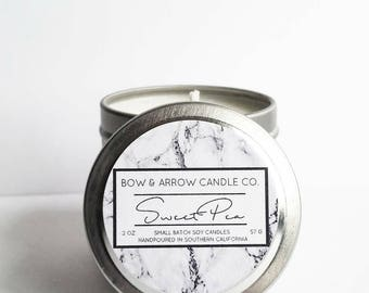 2 oz Natural Soy Candle Sweet Pea Scented | 2 oz Tin Candle | Sweet Pea Scented | Sweet Pea Candle | Floral Candle | Scented Soy Candle