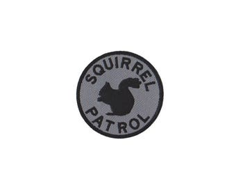 Squirrel Patrol Embroidered Patch with Hook and Loop Fastener Available