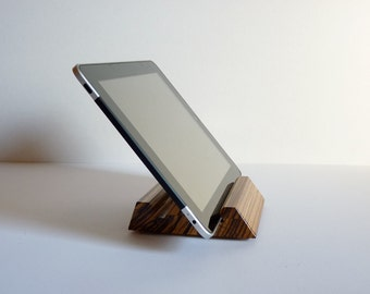 Zebrawood iPad Stand Compact Wooden Tablet Holder Low Profile