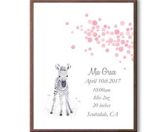 Personalized Baby Girl Birth Stats Watercolor Baby Zebra Print, Newborn Baby Girl Print From Godparents, Z1004