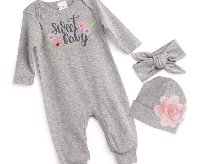 Baby Girl Romper, Newborn Girl Take Home Romper, Sweet Baby Gray Baby Bodysuit, Grey Long Sleeve Romper, TesaBabe, Sweet Baby F85PP