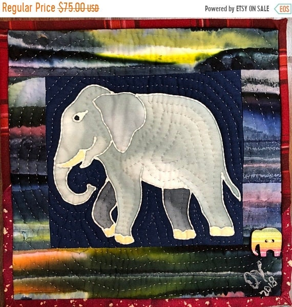 Hello Summer Sale Strong Elephants in My Library #1 mini quilt