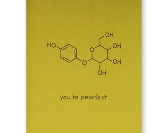 Pear Valentine Card - You're Pearfect Foodie Love Card - Chemistry Valentine Love Card - Science Nerd Geek - Anniversary Card