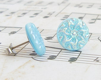 Baby Blue Flower - vintage glass button post earrings