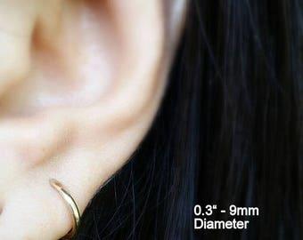 Gold hoop earrings - 14k gold hoop earrings - ear piercings - small gold hoop earrings -  cartilage hoop earrings - large gold hoop earrings