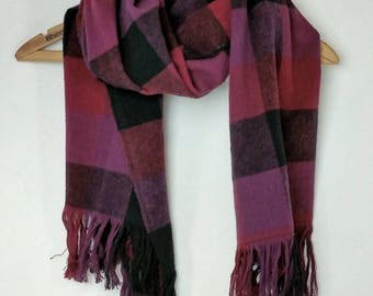 Purple Pink Black Plaid Flannel Blanket Scarf with Fringe